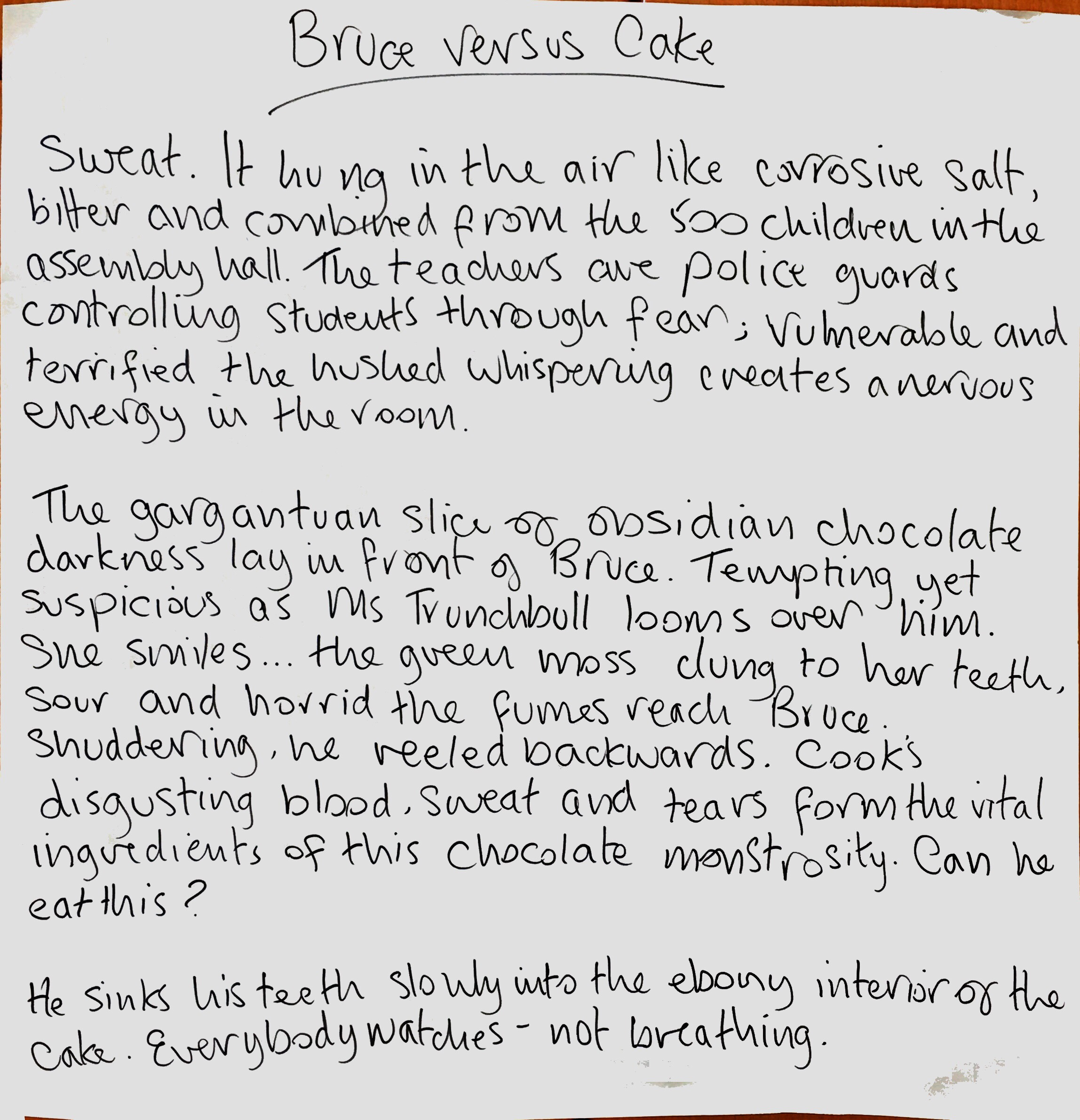 Creative Writing - Bruce vs. Cake
