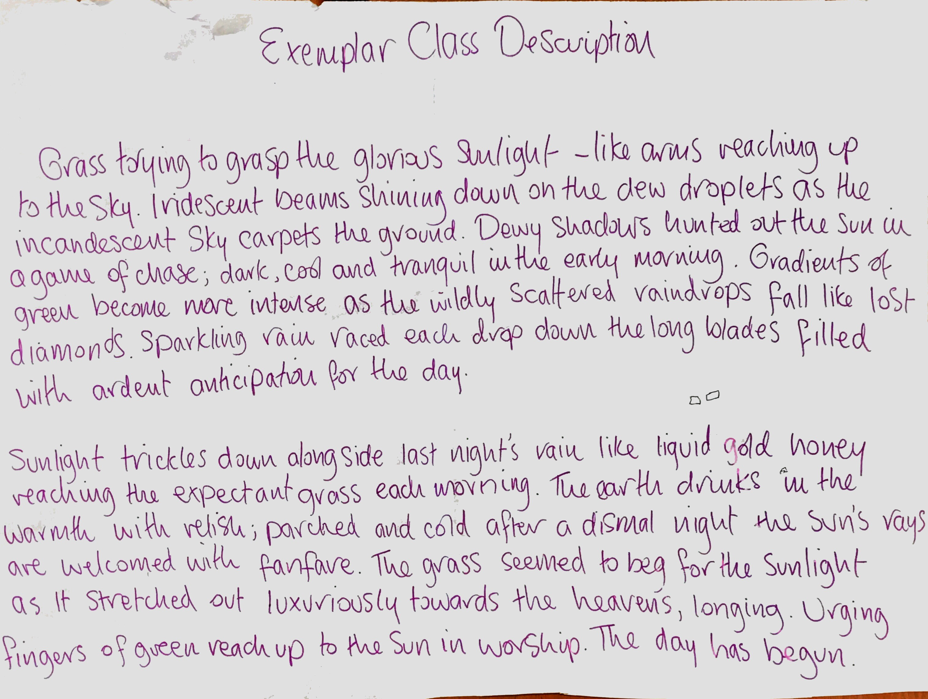 Creative Writing Exemplar