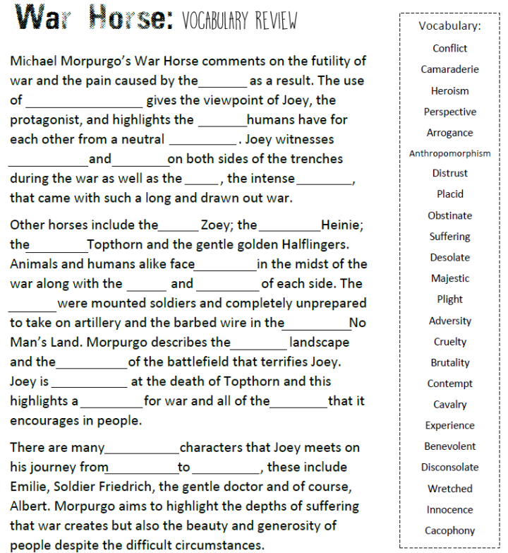 War Horse - Vocabulary Review