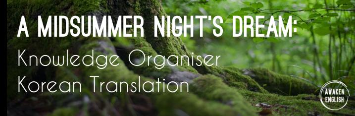 A Midsummer Night's Dream: Knowledge Organiser KoreanTranslation